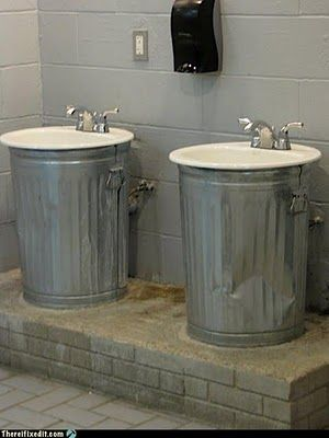 trash can sink (With images) | Man cave bathroom, Rustic ...