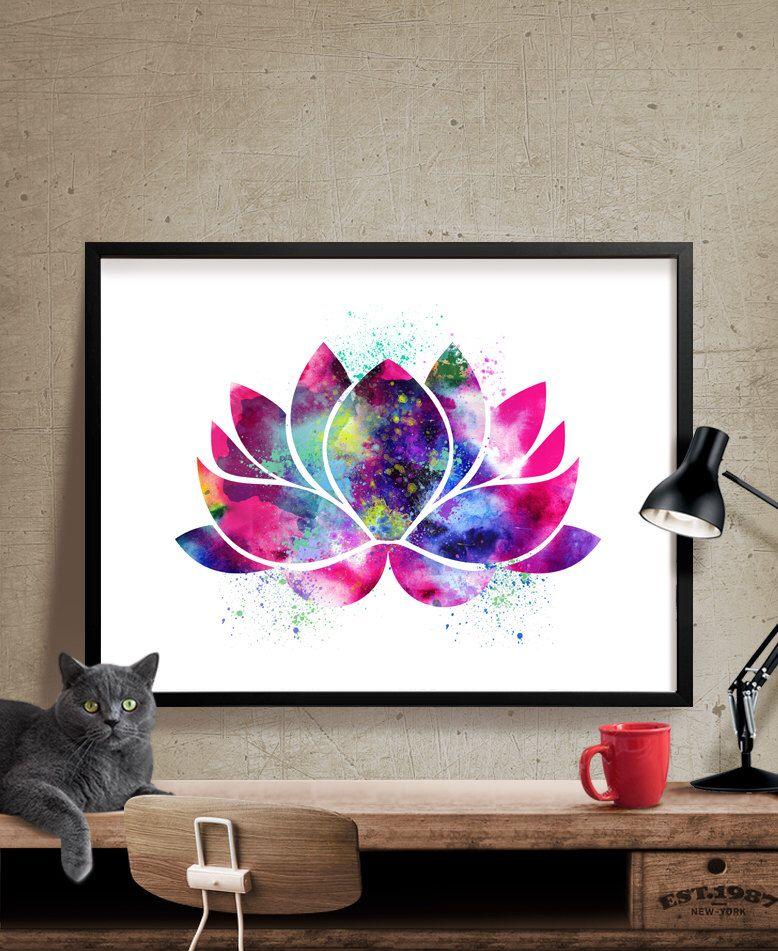 Lotus flower art yoga artwork lotus flower decor