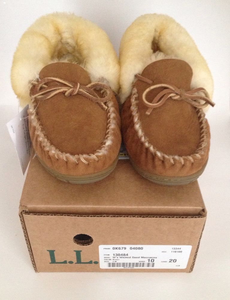 f28a5939ee3e LL Bean Wicked Good Moccasin Slippers Womens Size 8 M Brown NEW in box