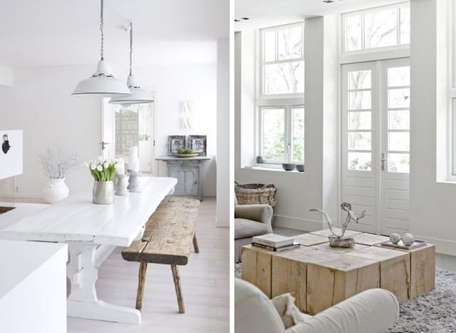 Intérieur Blanc Et Bois Brut Idée Décoration Design Salle à Manger Salon  Style Scandinave Nordique Industriel