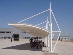 Resultado de imagen para diseño de cocherasmetalicas y techo de lona o media sombra