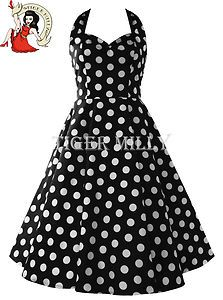 40cc042227 £44.99 HELL BUNNY MARIAM polka dot 50 s prom DRESS swing BLACK   WHITE 8-22