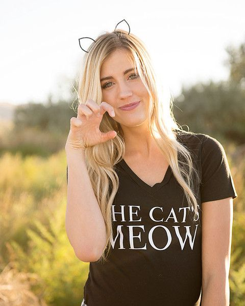 Create a cute and easy DIY Women's Halloween costume with a jeweled cat ear head band.
