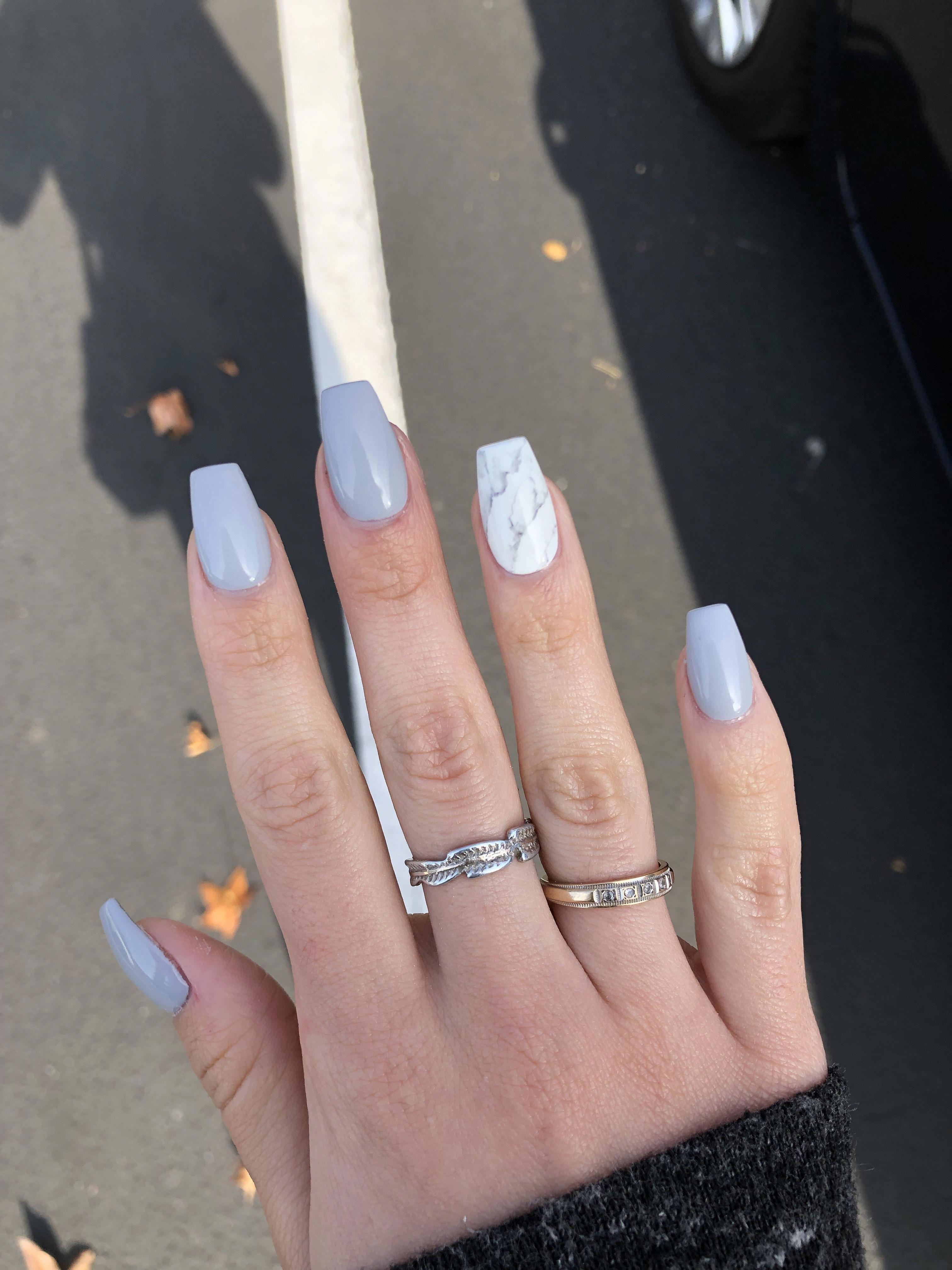 Grey Nails Acrylic Marble Nails Coffin Nails Acrylicnailsforsummer Acrylicnailideas Acrylic In 2020 Acrylic Nails Coffin Short Grey Acrylic Nails Best Acrylic Nails