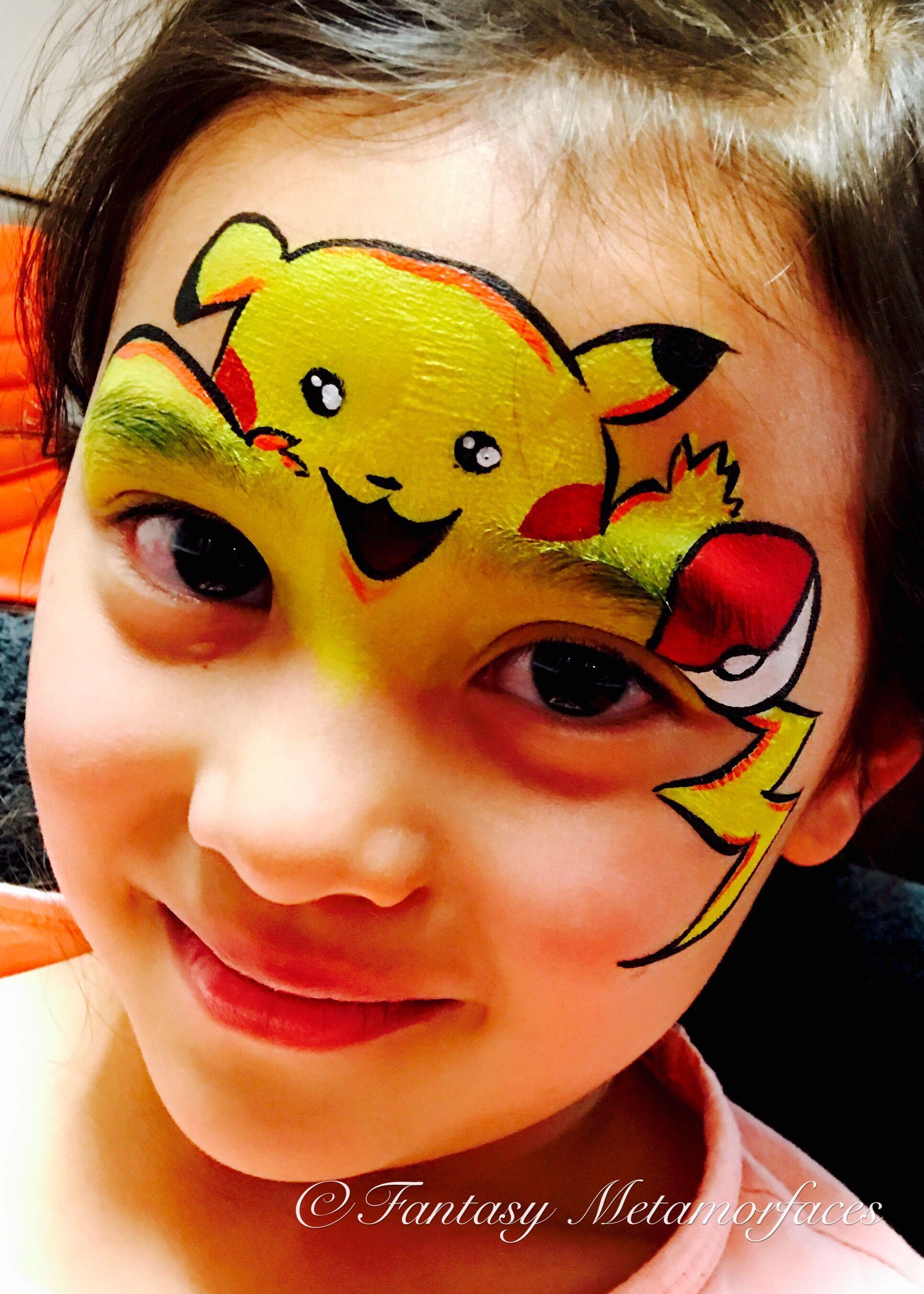 Pikachu Face Painting Inspired By Olga Murasev Pikachu Face Painting Face Painting Kids Face Paint