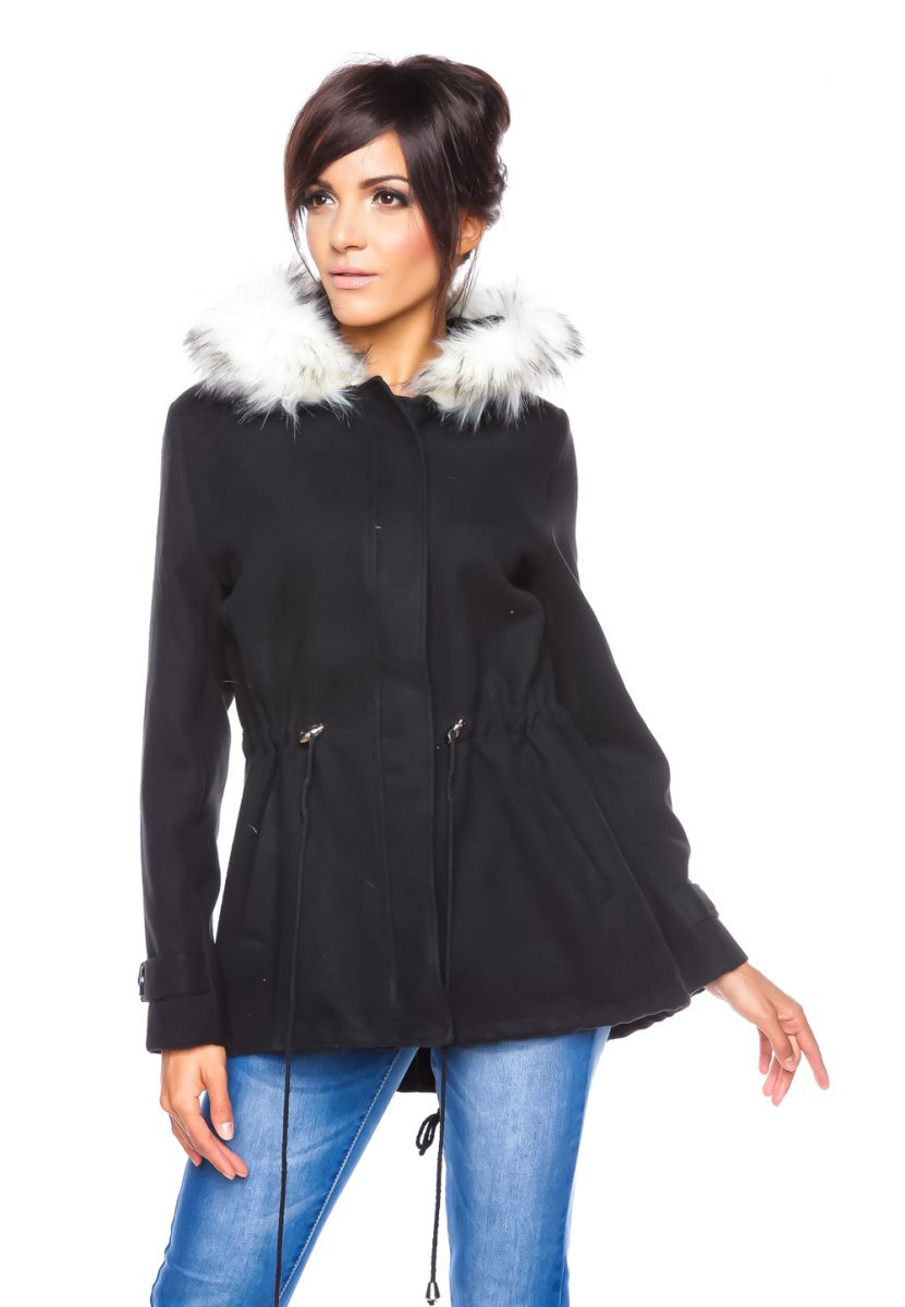 Mantel kunstpelz schwarz