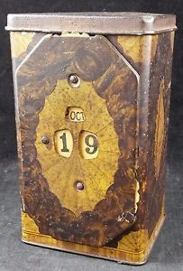 Rare-Vintage-Lyons-Tea-1920s-Tin-With-Perpetual-Calendar-amp-Seashell-Decoration