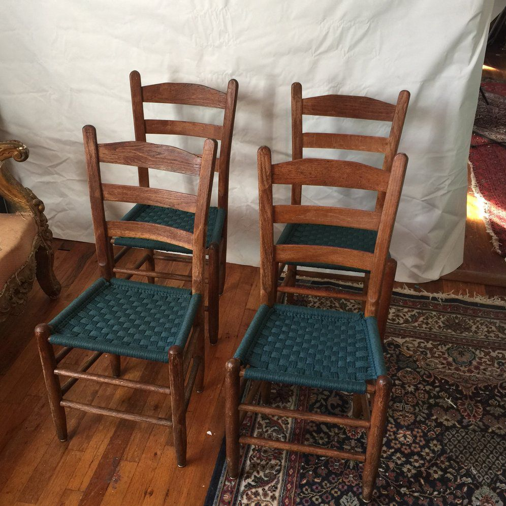 Scandinavian Style Woven Blue Wooden Chairs Set of 4