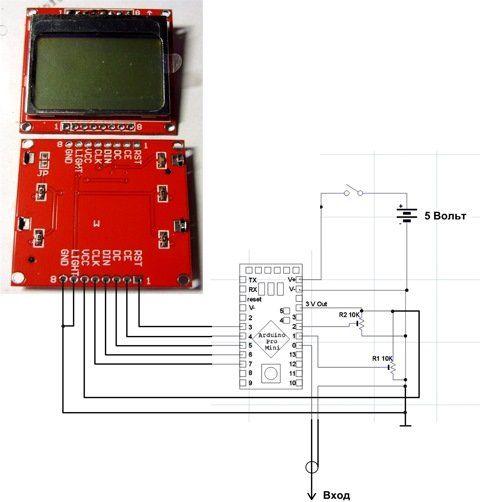 Мини осциллограф Arduino на LCD 5110 | Аппаратная платформа Arduino