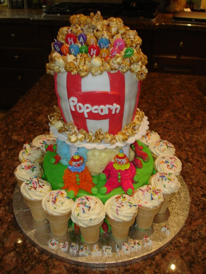 circus birthday cake | carnival cake this was a cake made for a carnival themed bday botton ...