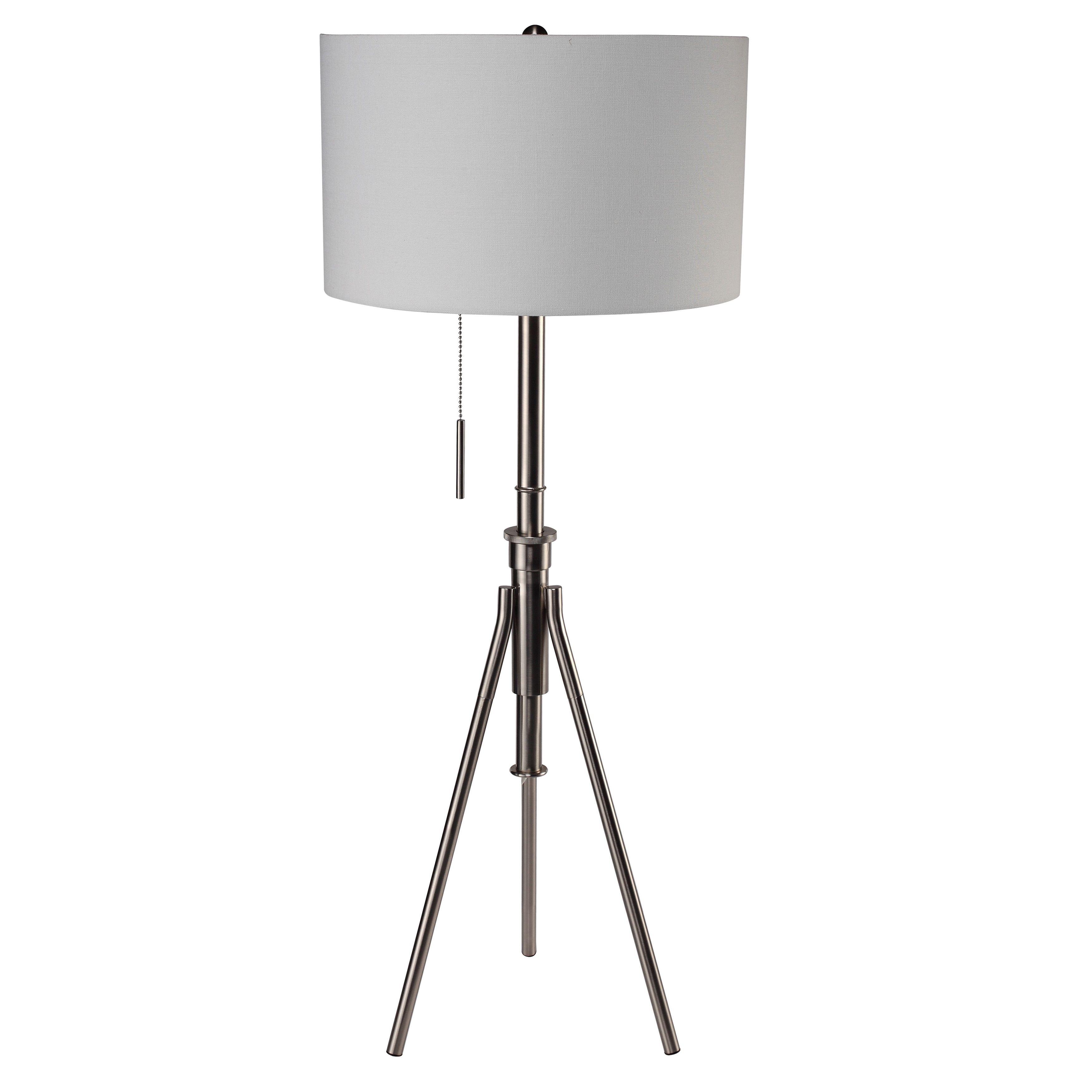 Q-Max Adjustable Brushed Steel Tripod Floor Lamp (Silver) (Fabric)