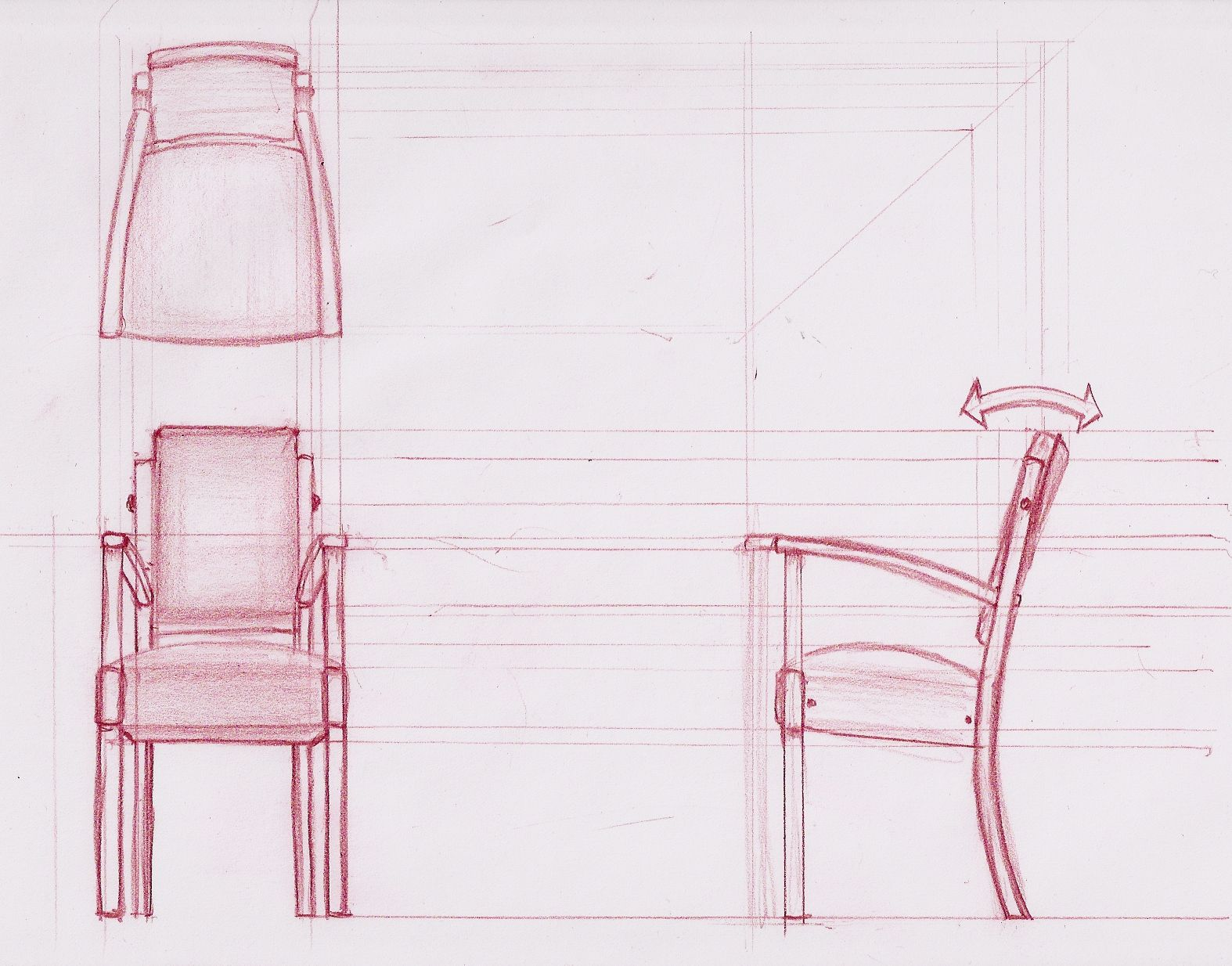 Modern furniture sketches chair sketches - Bridge Chair Orthographic Drawingdigital