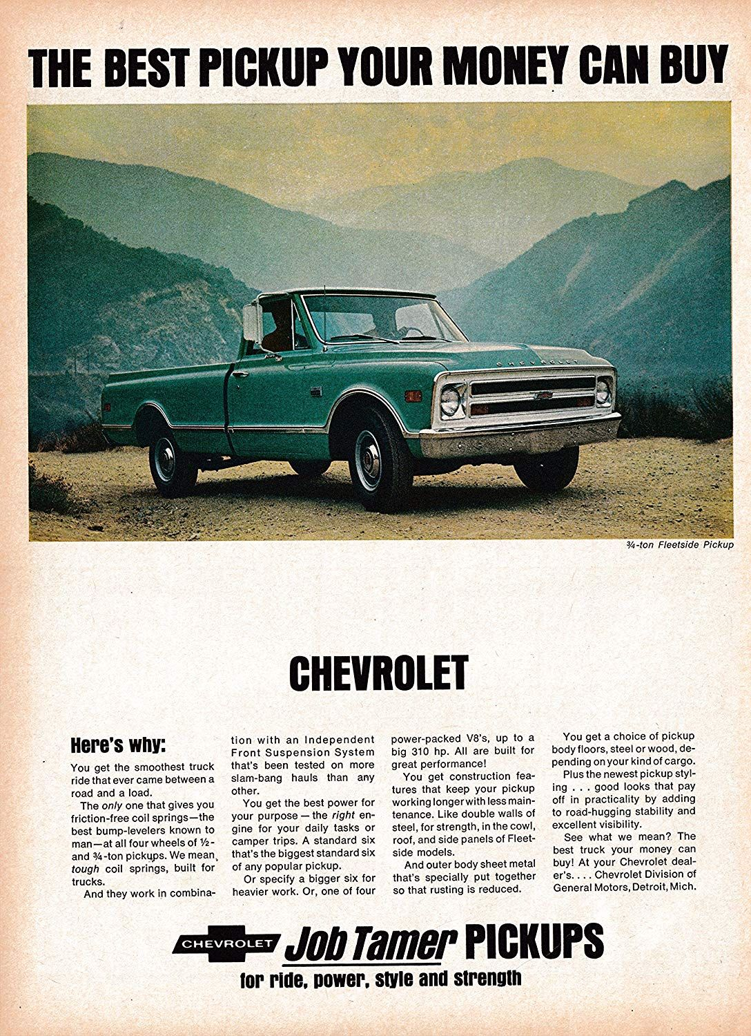 amazon com 1968 chevrolet 3 4 ton fleetside pickup truck original 13 5 10 5 magazine ad everything else chevy trucks pickup trucks pinterest