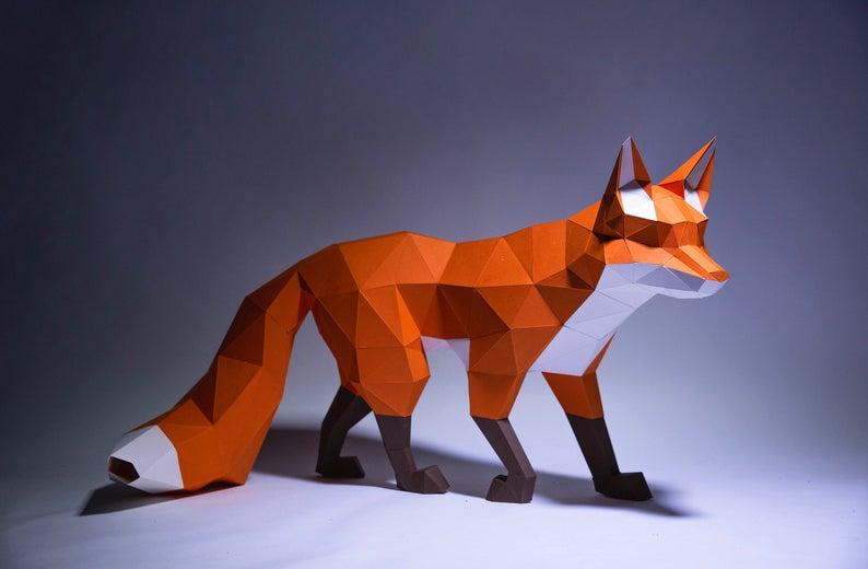 Fox Walk Paper Craft Digital Template Origami Pdf Download Etsy In 2020 Paper Sculpture Paper Crafts Paper Fox