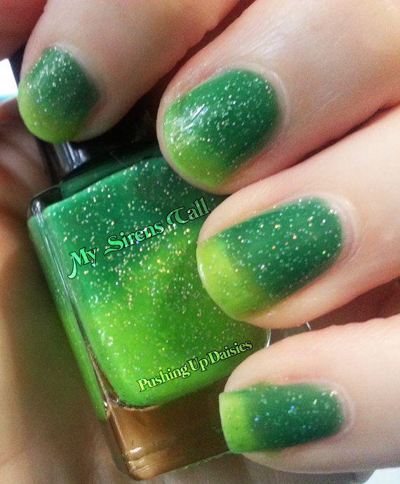 Pushing Up Daisies- A green to yellow thermal glitter nail polish
