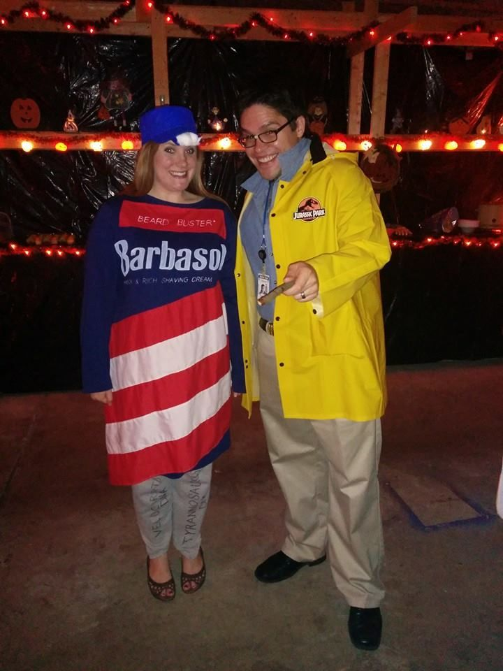 Funny Jurassic Park Couples Costume Idea Dennis Nedry With The Can
