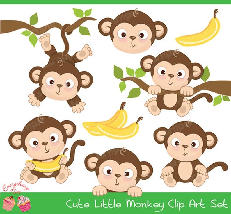Cute Little Monkey Clipart Set Etsy Cute Monkey Cartoon Monkey Little Monkeys