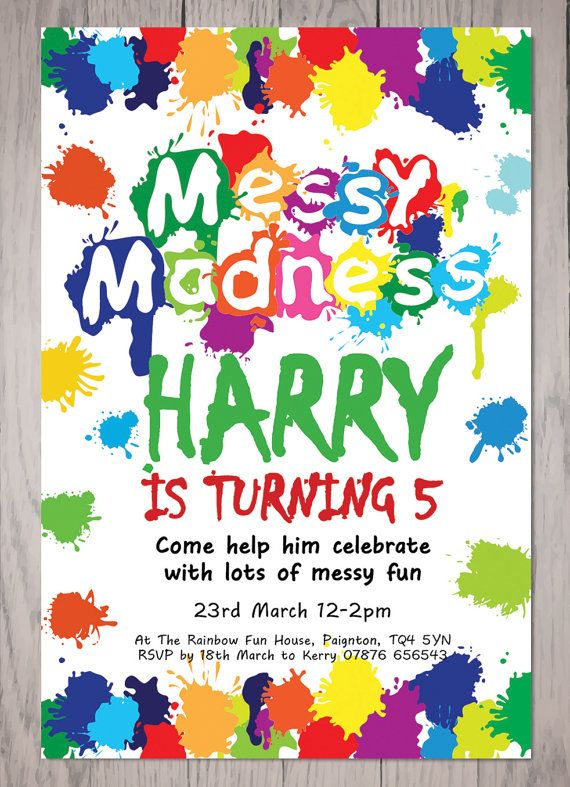 personalised boy messy madness children s party invitations digital
