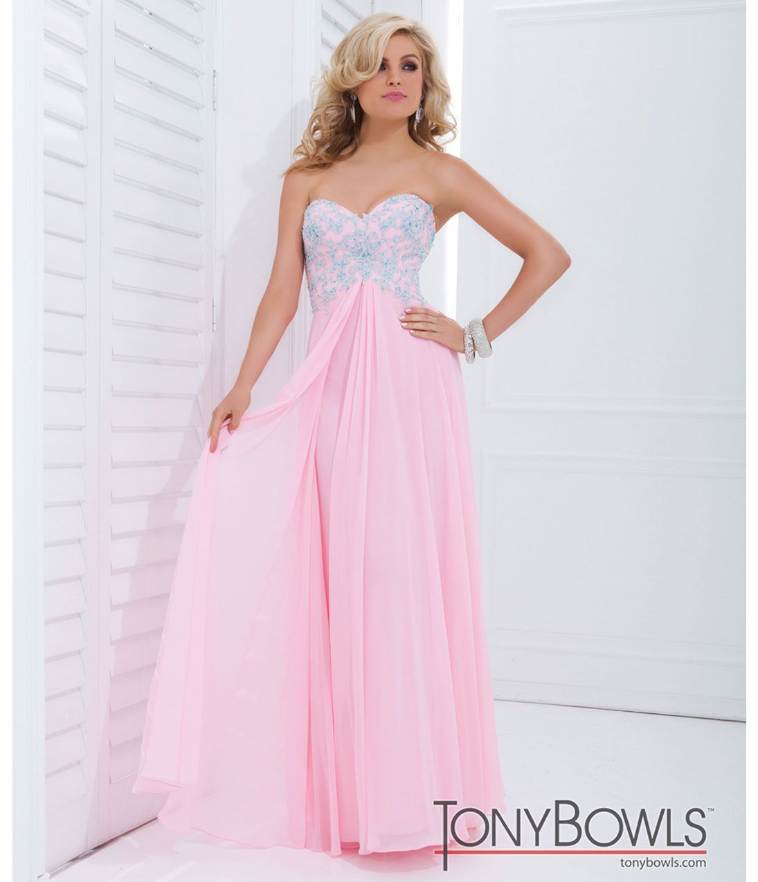 Tony Bowls 2014 Prom Dresses - Light Pink w/ Blue Floral Lace ...