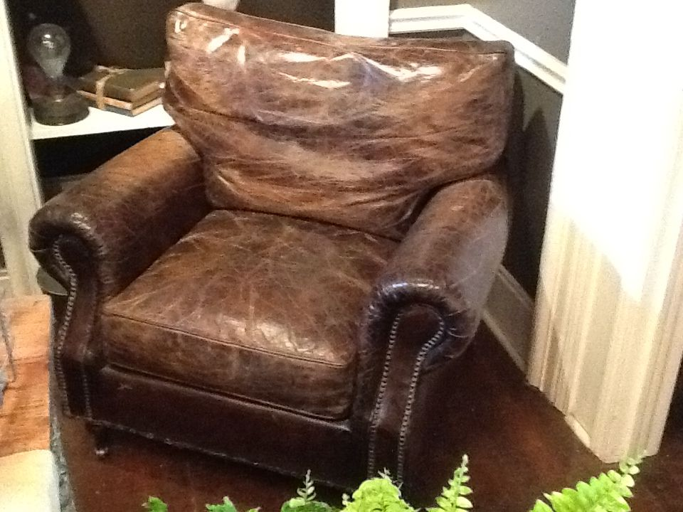 Worn in old English leather club chair.  Yummy!!!