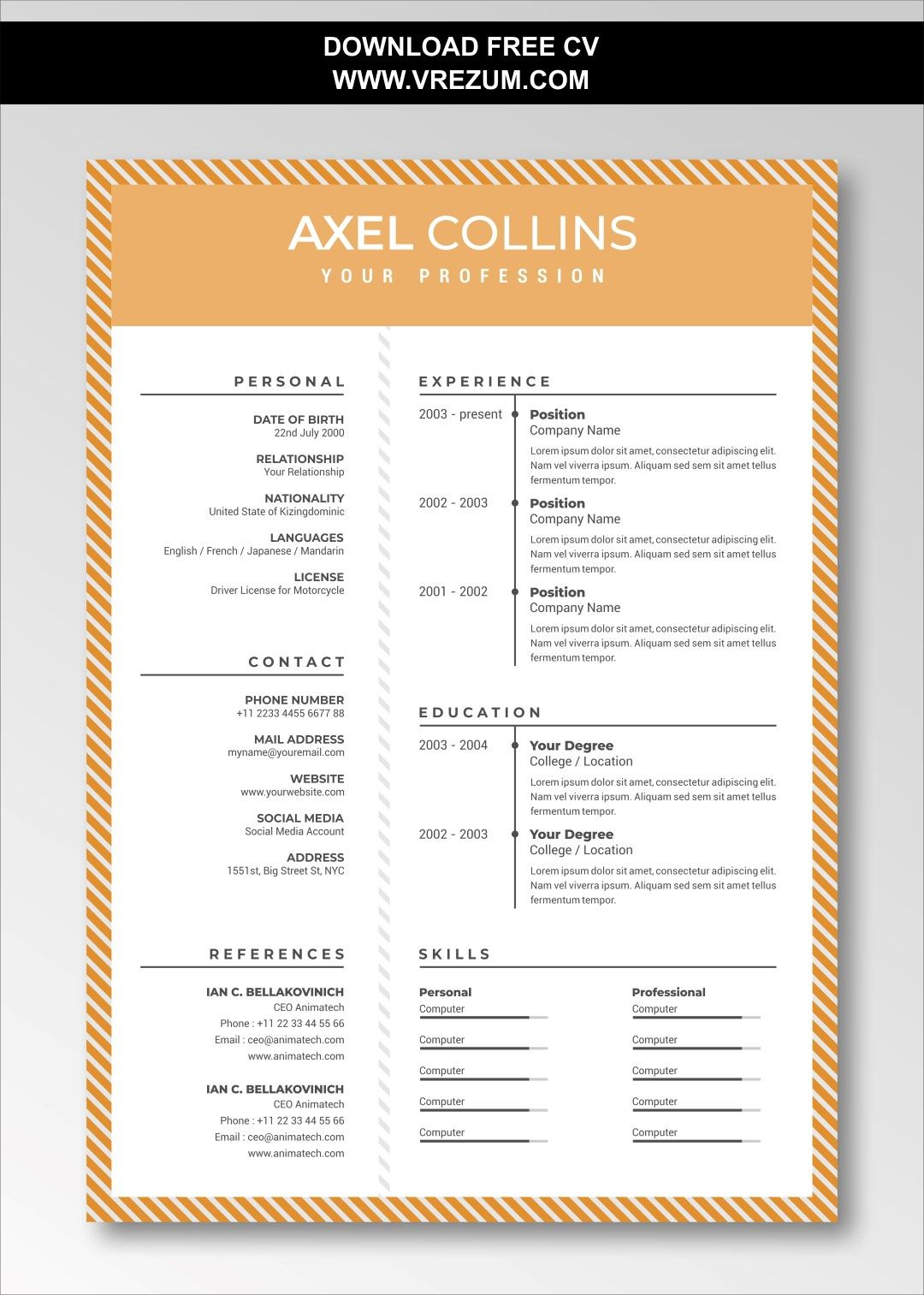 sales resume template free download