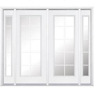 Masonite 96 In X 80 In Primed Prehung Right Hand Inswing 10 Lite Steel Patio Door With Brickmold 524334 A Patio Doors Glass Doors Patio French Doors Exterior