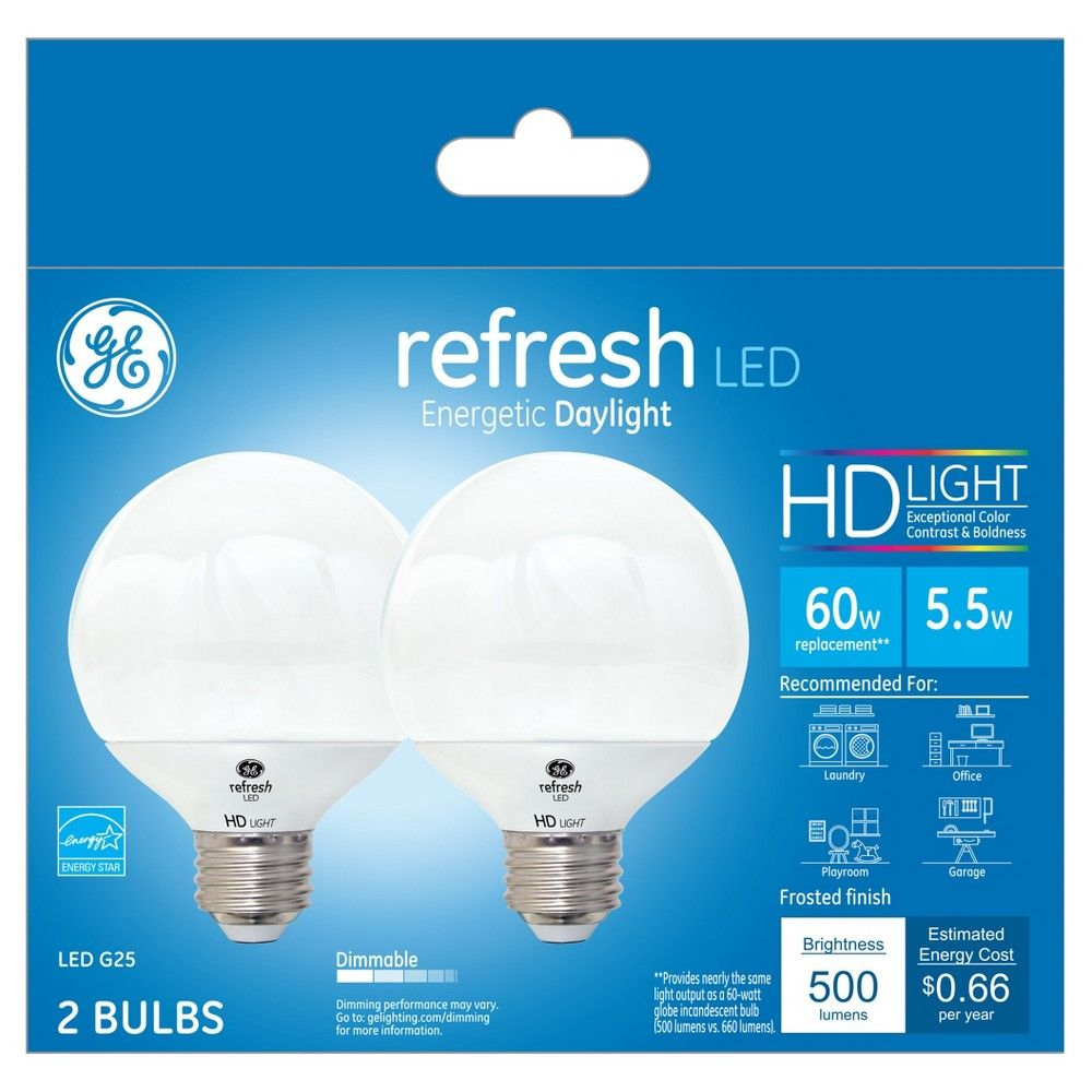 Refresh Daylight Hd 60watt Equivalent Globe G25 Frost Led 2pk Ge Led Led Vanity Light Bar