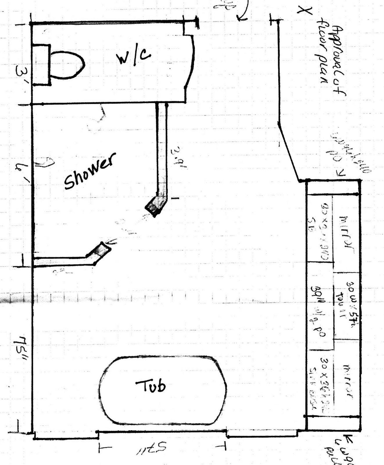 Shower Stall Diagram Ge Dryer Wire Bathroom Great Ideas Layout Doorless Design