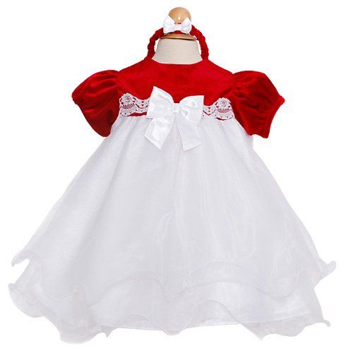 the perfect christmas dress for your baby girl by rare editions your little one will be too cute in this dress featuring a red top and white bow with a