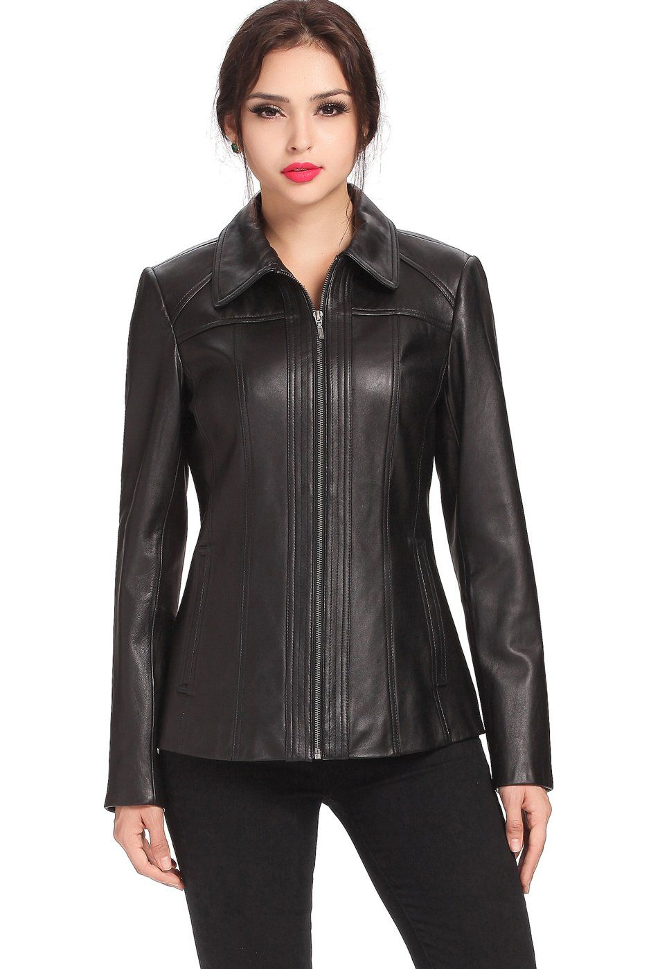 BGSD Womens Ellen Zip Front New Zealand Lambskin Leather