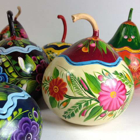Gourds painted with an organic laca or lacquer (made from insect parts) and then beautifully painted in Olínala, Guerrero. The skill of these artisans is so impressive. The lids fit perfectly and don't fall into the gourd (like some do) and they can be used to store things or just