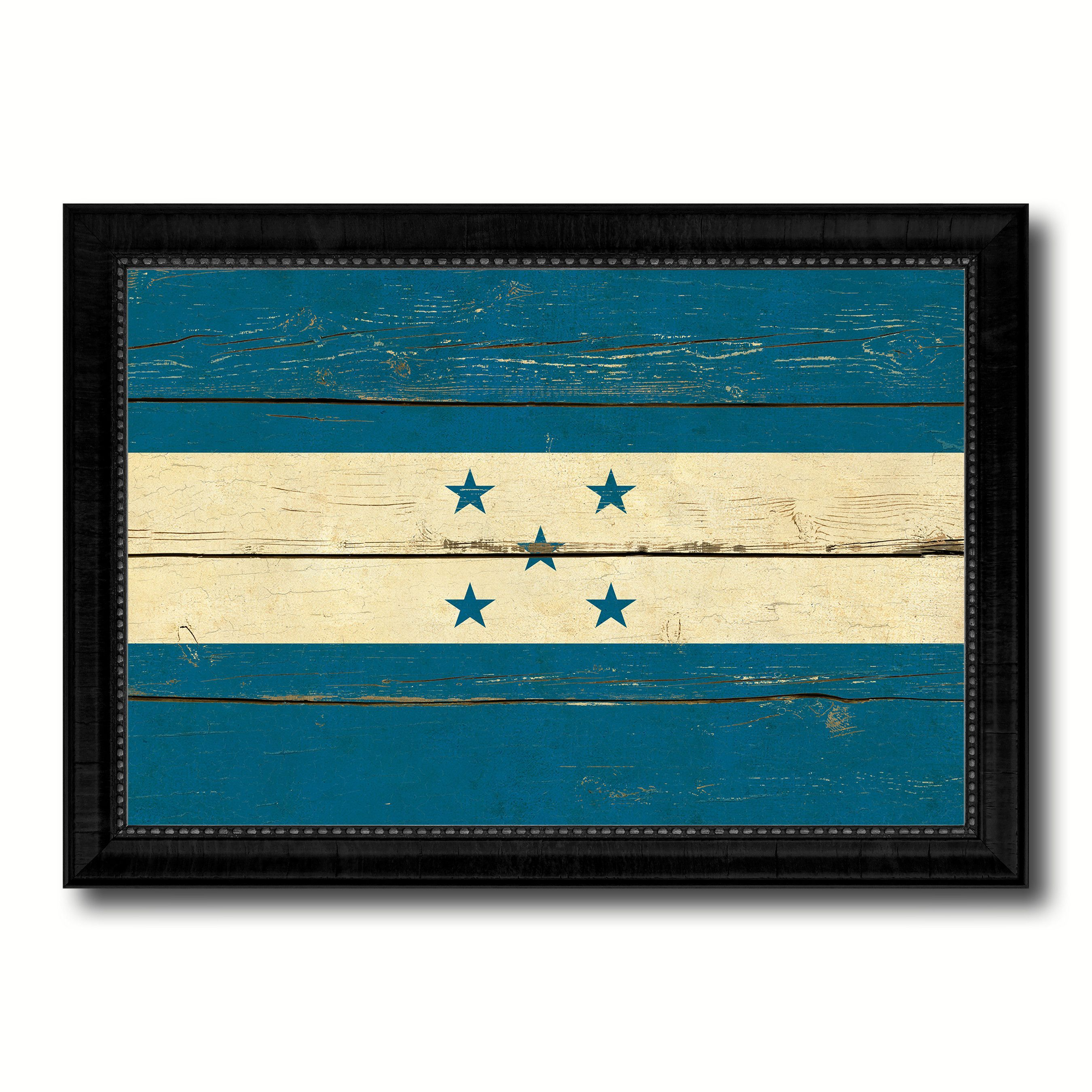 Honduras Country Flag Vintage Canvas Print with Black Picture Frame ...