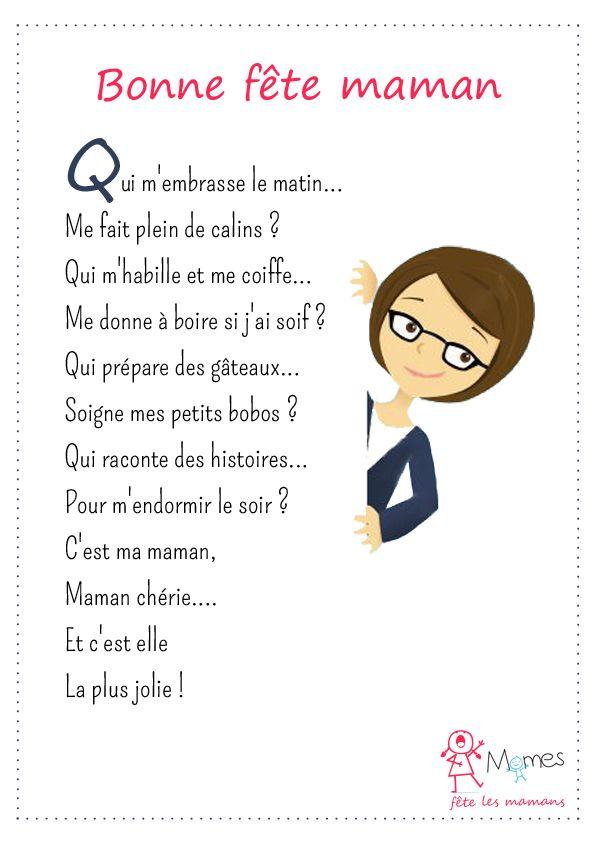 Bonne Fête Maman Francoužština Mothers Day Poems Mother