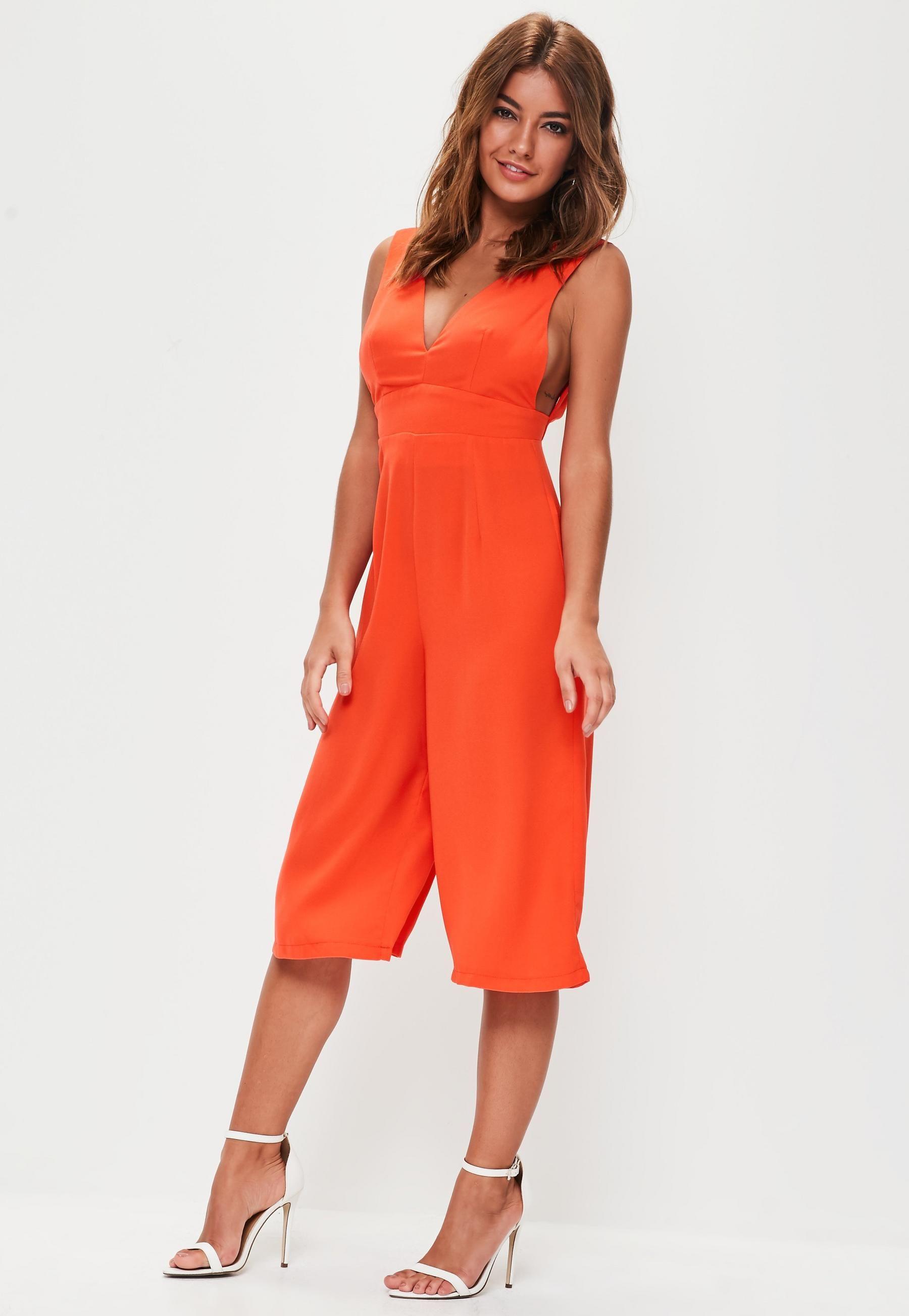 e04d4df4df4 Orange Plunge Front Culotte Jumpsuit