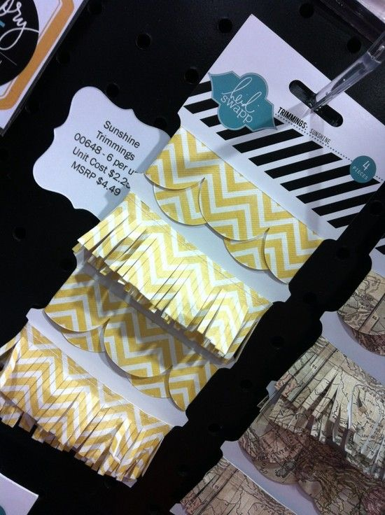 Sunshine Trimmings by Heidi Swapp. Yellow Chevrons + Scallops = Love.