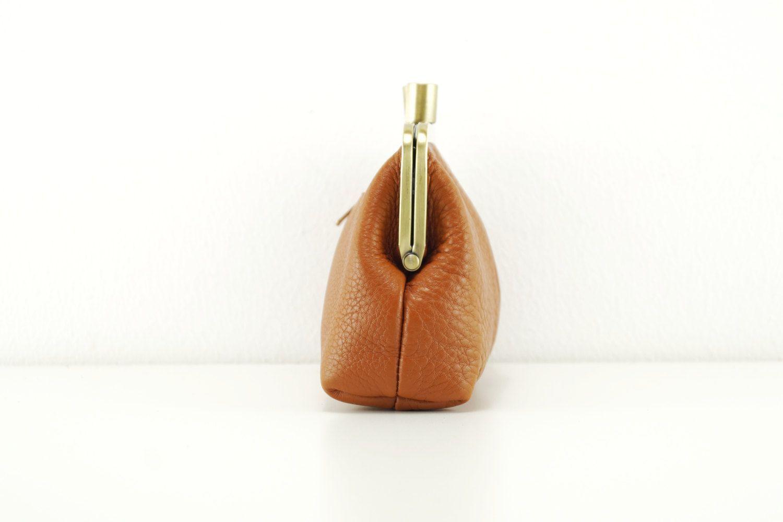 Sac à main de cuir « Little Alice » en marron, sac cuir vintage, sac en cuir, sac à bandoulière en cuir, embrayage, fermeture clip - #