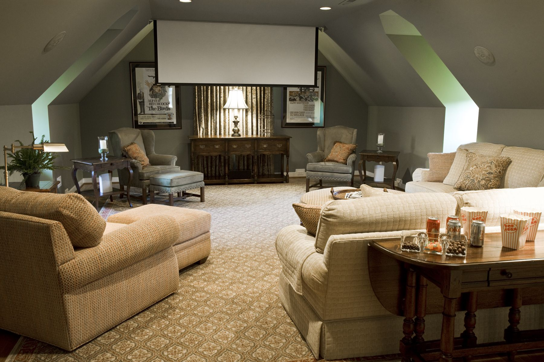 Media Room With Large Sectional Sofa Sueded Pillows And Window