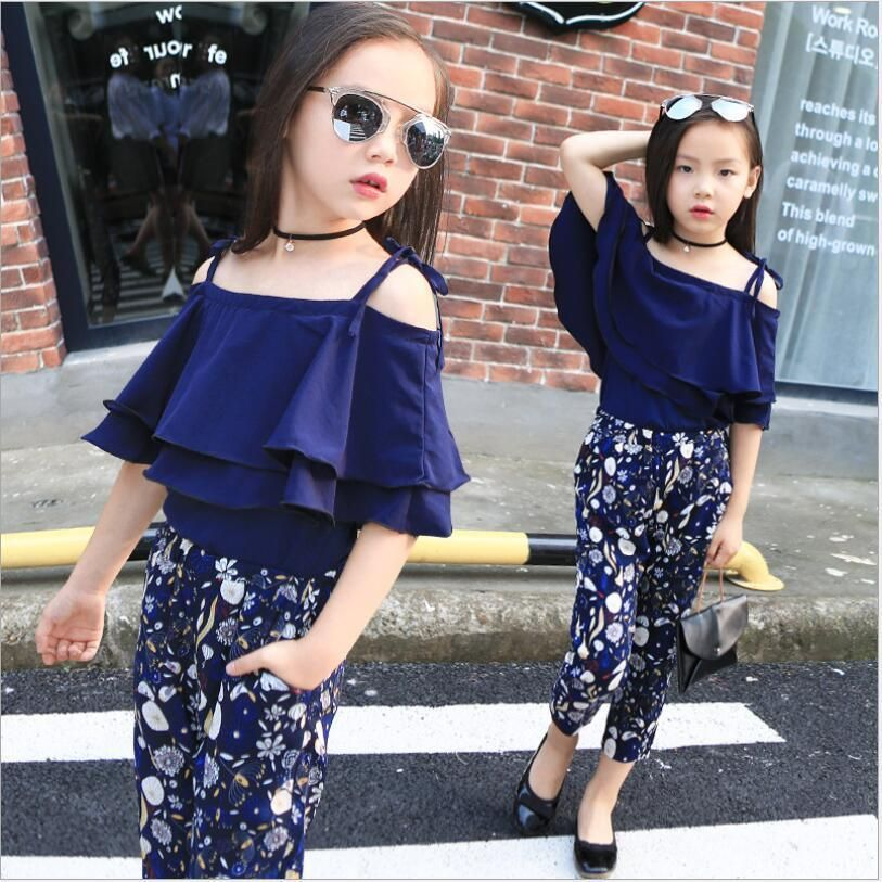 5b4a5e79c8095 2Pcs Kids Baby Girls Fashion Suit Off Shoulder Blouse+Floral Pants Set  Clothes