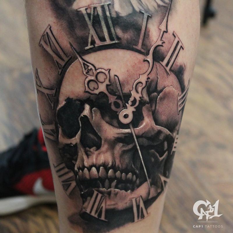 Black And Gray Realistic Skull Tattoo Leg Tattoo Tattoosbycapone Black And Grey Tattoos Skull Tattoo Design Grey Tattoo
