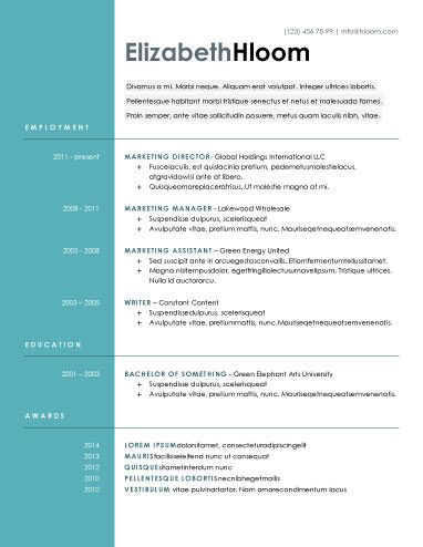 Blue Side - Free Resume Template by Hloom arte Pinterest - modern professional resume template