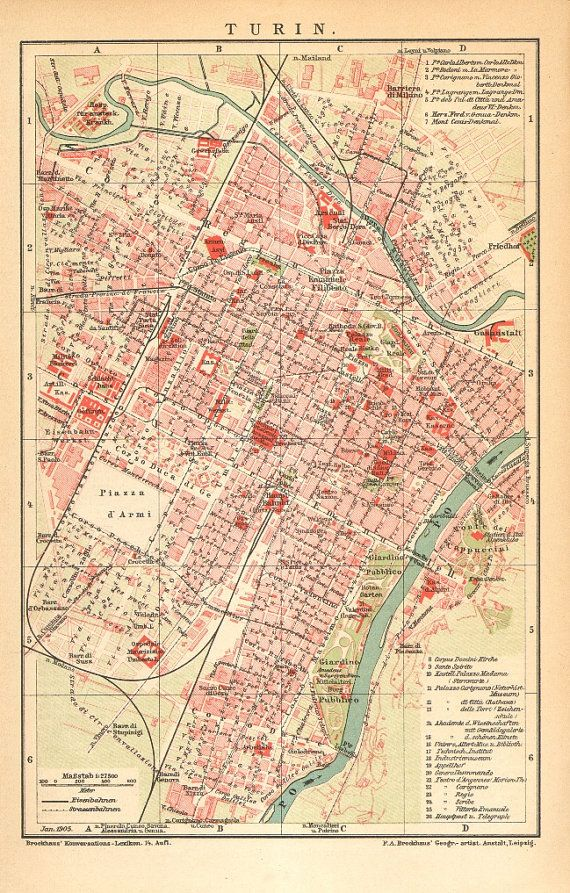 1905 Antique Dated City Map Of Turin Italy Etc In 2019 Map