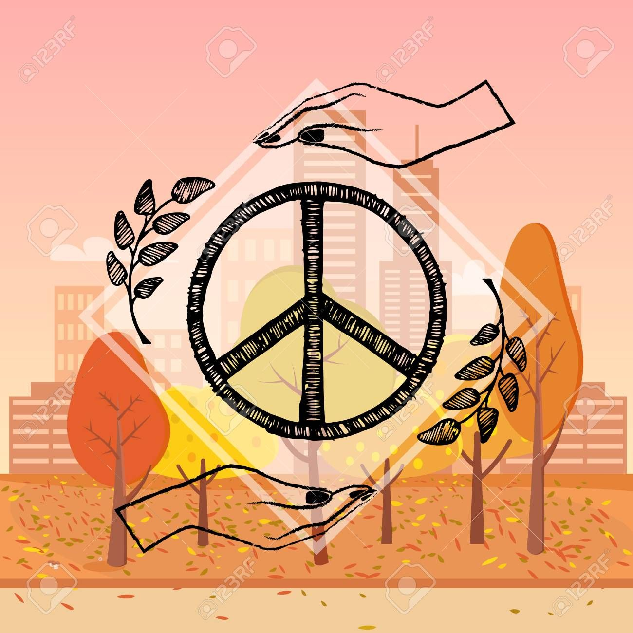 International Peace Day Poster With Two Hands Protecting Sign Of Freedom Vector Illustration With Olive Branches On On Autumn Ci Olive Branch Peace Logo Design