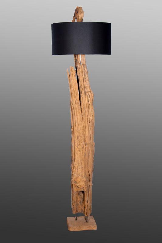 Swirl Ornament Staande Lamp Met Zwarte Kap Lampen Houtsculptuur Decoratie