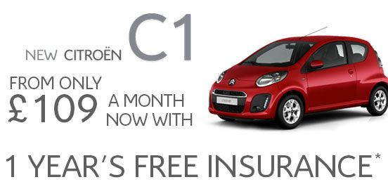C1 City Car from £109 per month & One Year's Free Insurance  You can now buy our economical and very practical city car, Citroën C1 3-Door VTR from just £109 per month on Elect 4 Personal Lease plus One Year's Free Insurance.  Also benefit from £0 Road Tax in your first year of purchase when you buy any C1.  Contact us today to find out more.  Call 0844 247 0817
