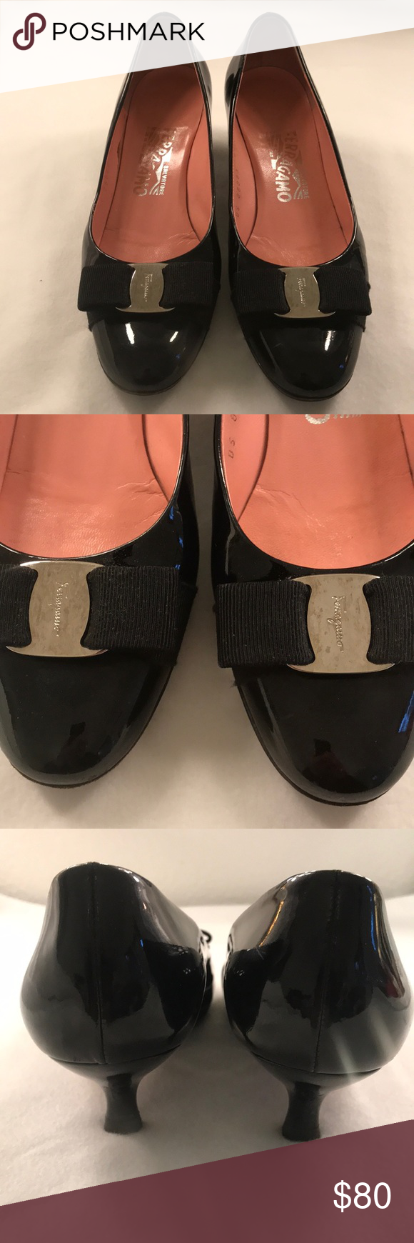 Ferraramo Black Leather Kitten Heels Size 6 Kitten Heels Black Leather Ferragamo Shoes