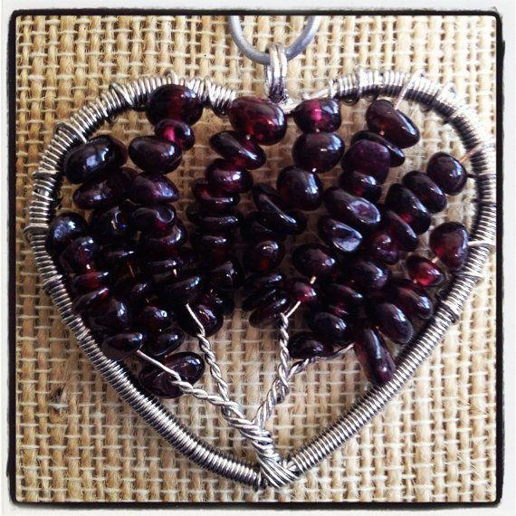 Garnet Heart Tree of Life Pendant by LittleHouseofVintage on Etsy, $28.00