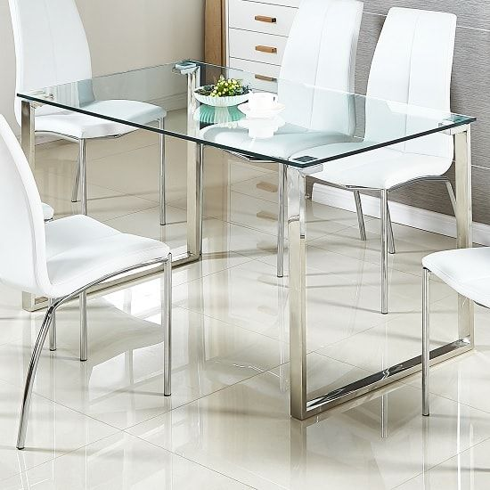 Megan Clear Glass Dining Table With Chrome Legs Furniture In Fashion Glass Dining Table Glass Dining Table Rectangular Matching Furniture
