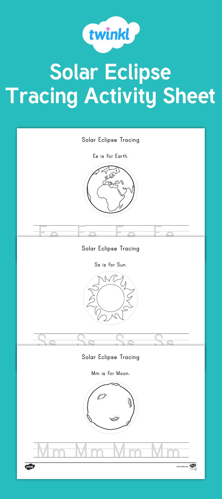Colouring sheets of the lunar eclipse - Solar Eclipse Tracing Activity Have Your Children Practice Their Handwriting With This Fantastic Space And