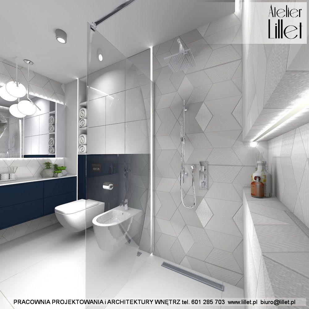 Granatowo Biala Lazienka Lil Let Projektowanie Wnetrz Szczecin Bathroom Dream House Bathtub