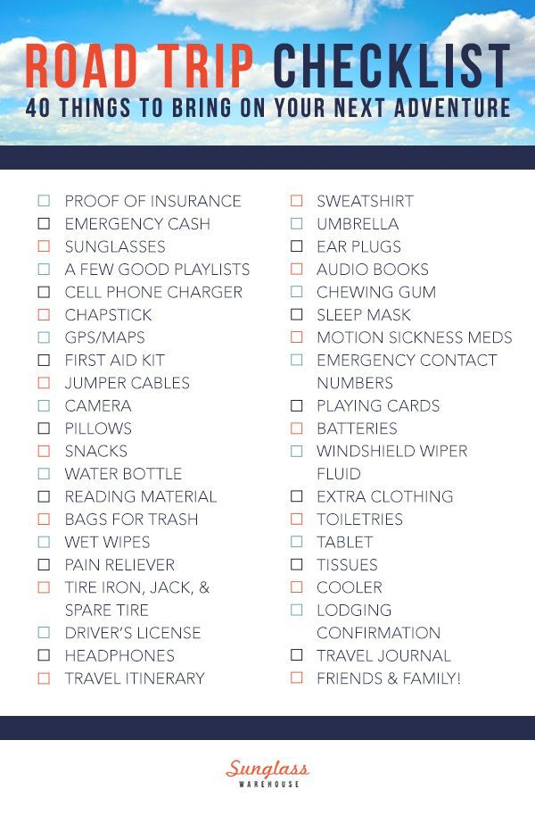 Road Trip 40 Things To Bring On Your Next Adventure Road Trip Checklist Road Trip Family Road Trips